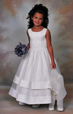 Sweetie Pie First Communion Dress - 106 - Ballerina Length - Full Length Classic White Peau Satin and Long Sleeved Organza Jacket