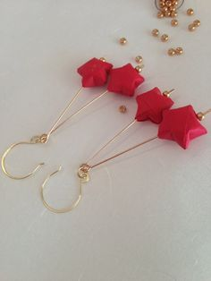 Lucky Star Origami Earrings in Red