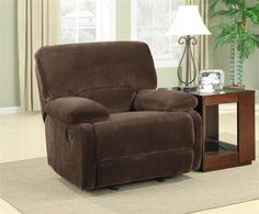 Walcott Brown Wood Steel Foam Dacron Polyester Glider Recliner