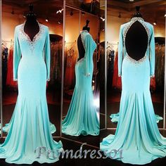 2015 elegant green chiffon 3/4 sleeves open back prom dress, mother of the bride dresses, ball gown #promdress #wedding