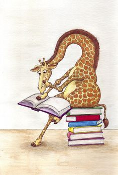 Reading Giraffe Canvas Print by Julia Collard. All canvas prints are professionally printed, assembled, and shipped within 3 - 4 business days and delivered ready-to-hang on your wall. Choose from multiple print sizes, border colors, and canvas materials. Funny Giraffe, Giraffe Art, Giraffe Nursery, Nursery Art, Illustrations, Illustration Art, Image Elephant, Giraffe Pictures, Canvas Prints