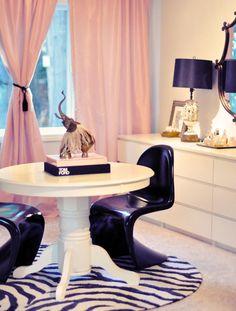 work table & vanity in office... pink, black, white, vintage + modern decor