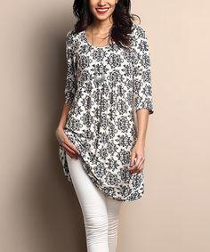 Look at this #zulilyfind! White & Black Damask Empire-Waist Tunic Dress #zulilyfinds