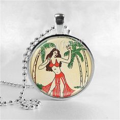 HULA GIRL Necklace, Vintage Hawaiian Print, Hawaii, Hawaiian, Hawaiian Islands, Tropical Islands, Tiki, Polynesian, Glass Photo Art Necklace