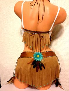Pocahontas costume by PlurdollsPD on Etsy Rave Outfits, Sexy Outfits, Halloween Fun, Halloween Costumes, Pocahontas Costume, Native American Wedding, Disney Dress Up, Leather Bustier, Indian Costumes