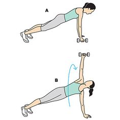 Plank with snatch - Using dumbbells and a medicine ball, this high-intensity, metabolism boosting workout burns up to 600 calories. | Health.com