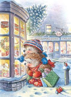 Merry Christmas ~ Happy New Year Christmas Scenes, Noel Christmas, Christmas Animals, Merry Christmas And Happy New Year, Vintage Christmas Cards, Christmas Pictures, Xmas, Christmas Postcards, Art And Illustration