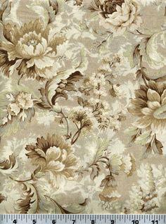 Fabric 2128 Brown Beige Cream Floral on Lt Beige Quilt Gate Sold by 1 2 Yard | eBay