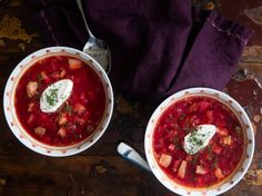 Ukrainian borscht—hot, meaty, and beet-red—is a classic hearty wintertime soup, loaded with tender chunks of beef and pork, plus an amazing array of vegetables, from beets to cabbage and celery root. It's a filling, deeply satisfying bowl of soup, with a sweet-sour finish. This recipe makes a lot, but don't worry: It freezes well, and you'll want it all.