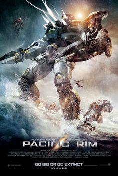 """★★★★Pacific Rim (2013) Sciencefiction, De film speelt zich af in een toekomstige versie van de Aarde waar in 2012 een monster uit de Stille Oceaan opdook en Japan aanviel. Een portaal naar deze wereld ligt acht kilometer onder water en spuugt  steeds meer monsters uit die de kustplaatsen aanvallen. Om ze te verslaan ontwikkelt het leger het """"Jaeger""""-programma dat teams van twee piloten traint om gigantische mechanische harnassen vol met wapens te bedienen."""