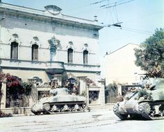 Polish forces under the British 8th Army using M4 Sherman tanks in Italy, 1944.
