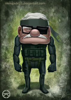 Pixar characters reimagined as the heroes of popular video games by DeviantARTist renegade21 - Metal Gear Solid x Up