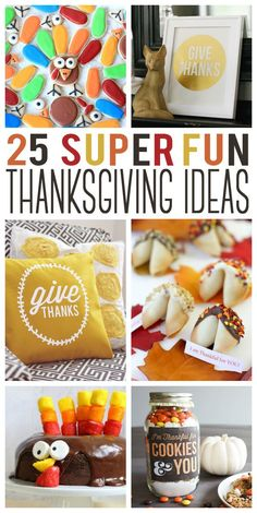 25 Super Fun Thanksgiving Ideas- gifts, desserts, decorations and more! All the ideas to you need to throw an amazing Thanksgiving this holiday season! Thanksgiving Projects, Thanksgiving Traditions, Thanksgiving Parties, Thanksgiving Activities, Thanksgiving Decorations, Happy Thanksgiving, Thanksgiving Recipes, Thanksgiving Celebration, Holiday Activities