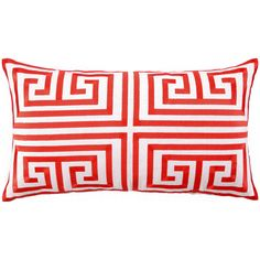 Trina Turk Greek Key Melon Embroidered Linen Pillow @Zinc_Door