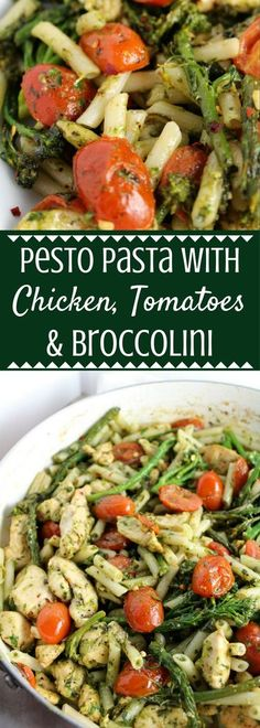 Pesto Pasta with Chicken, Tomatoes + Broccolini. Make w/ gluten free lentil or chickpea pasta for a healthy, family friendly vegetarian dinner.