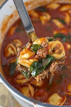 Yellow Bliss Road Tortellini Soup with Italian Sausage & Spinach with Parmesan Crostini