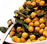 Chickpeas Tunisian style with silverbeet
