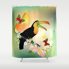 #Toucan with #flowers #Shower #Curtain by nicky2342 - $68.00