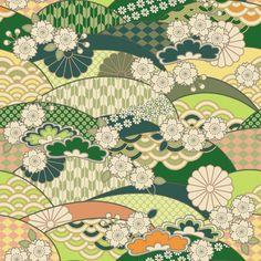 A lovely print featuring some traditional Japanese patterns such as the wave and the arrow. Japanese Textiles, Japanese Patterns, Japanese Prints, Design Oriental, Oriental Pattern, Japanese Paper, Japanese Fabric, Oriental Wallpaper, Kimono Pattern
