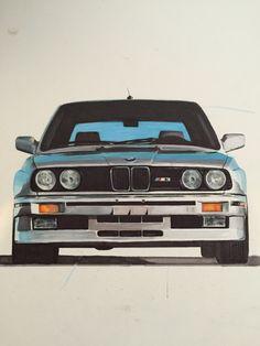 1989 BMW E30 M3. Pencils & Markers.