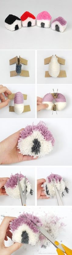 Cutest craft idea for the kids this summer! make this DIY Pom Pom Town Play Set Cute Crafts, Crafts To Do, Hobbies And Crafts, Yarn Crafts, Crafts For Kids, Arts And Crafts, Pom Pom Animals, Pom Pom Crafts, Pom Poms