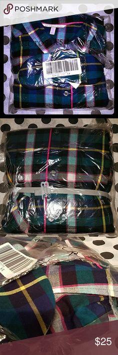 Victoria's Secret pajamas Plaid print pajama set brand new with tags. Still wrapped in the plastic it shipped in. Long sleeve, button up top, pants, and matching eye mask included in this set. Victoria's Secret Intimates & Sleepwear Pajamas