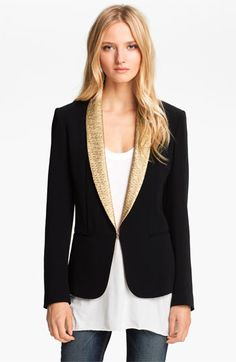 My father's tuxedo jacket is the same shape, with the same shawl collar (sans sequins)...  I knew I held on to it for a reason!