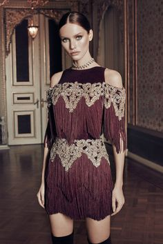 FERIEL Bordo Püsküllü Elbise MLWAW17DE6993 Raisa&Vanessa for Trendyol | Trendyol
