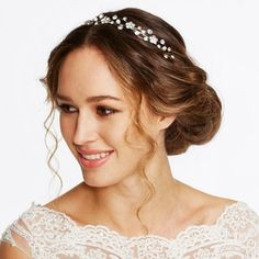 Jon Richard Crystal flower and pearl wave headband- | Debenhams
