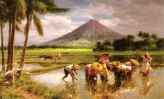 Planting with Mayon Volcano, Philippines by Fernando Amorsolo Filipino Art, Filipino Culture, Filipino House, New Artists, Great Artists, Philippine Art, Exotic Beaches, Enjoy The Sunshine, Les Oeuvres