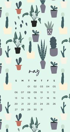 Succulent tumblr plant calendar iPhone lock screen Emma's Studyblr
