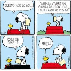 The wisdom of Woodstock is never wrong. Peanuts Cartoon, Peanuts Snoopy, Woodstock, Italian Language, Emoticon, Beagle, Vignettes, Charlie Brown, Comic Art