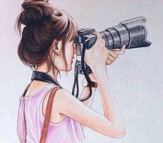 Image result for cute drawing of a girl with camera