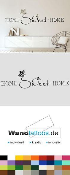 Wandtattoo Home sweet home mit Schmetterlingspärchen als Idee zur individuellen Wandgestaltung. Einfach Lieblingsfarbe und Größe auswählen. Weitere kreative Anregungen von Wandtattoos.de hier entdecken!