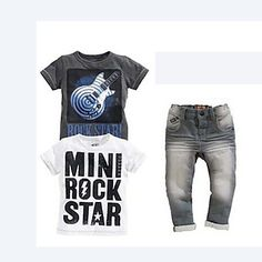 Boy's+Summer+Inelastic+Thin+Short+Sleeve+Three+Pieces+Jeans/Clothing+Sets+(Cotton+Blends)+–+USD+$+19.99