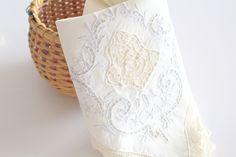 NAPKIN, Vintage, Embroidered Heirloom, Cutwork Luncheon or Tea Napkin with Lace Edge, High Tea Party, Wedding Table Decor, Luncheon Napkin by MariasFarmhouse on Etsy