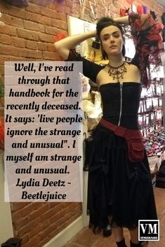 """Well, I've read through that handbook for the recently deceased. It says: 'live people ignore the strange and unusual"""". I myself am strange and unusual. Lydia Deetz - Beetlejuice Source by venusandmars dresses fashion Steampunk Makeup, Beetlejuice, Festival Outfits, Thats Not My, Fashion Dresses, Live, People, Clothes, Women"""