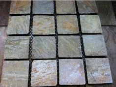 Golden Quartz Cobblestones on mesh sheets. New Product! Cobblestone Pavers, Stepping Stones, Mesh, Patio Ideas, Outdoor Decor, House Ideas, Quartz, Diy, Products