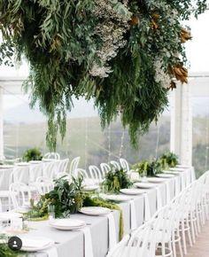 LUSH // We adore this modern take on the tradition 'pretty' wedding foliage. Green and lush this wedding screams modern opulence. RG via Wedding Sets, Elegant Wedding, Wedding Styles, Wedding Day, Tent Wedding, Gothic Wedding, Glamorous Wedding, Wedding Photos, Vogue Bride