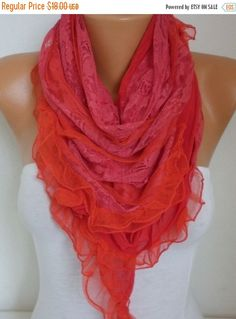 Red Lace Scarf Valentine Day Gift Shawl Bridal by fatwoman on Etsy