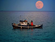 """Fishing in moonlight (Full moon ~ June I like that the boat's name is """"Stella"""" :) Κύμη. Full Moon June, Boat Names, Message In A Bottle, Homeland, Moonlight, Europe, Sky, In This Moment, Places"""