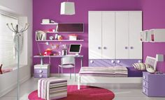 #Bedroom Amazing Purple Wall Girl Room Paint Ideas Plus White Wardrobe Also Striped Ottoman And Wall Shelves Feminine Cute Girls Room Paint ...