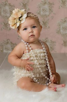 CPD001C Ivory Lace Baby Romper