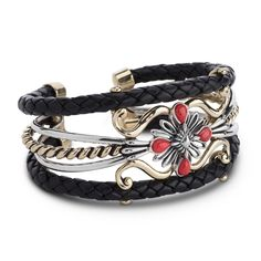 American West Brass And Black Leather Cuff Bracelet With Red Coral