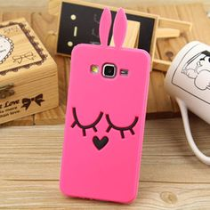 3D Cute Cartoon Hot Pink Rabbit Soft Silicone Case Back Cover For Samsung Galaxy Grand Prime G530H Grand 2 G7102 Core Prime G360