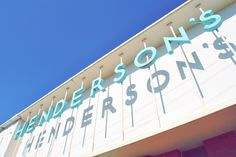 Henderson's- the reflection may make the letters a bit harder to read at distance, but the effect is still awesome!