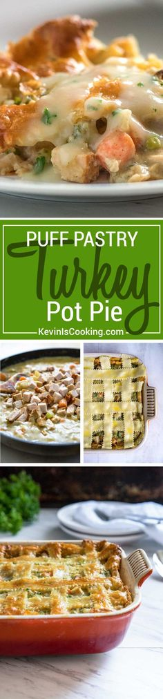 This turkey pot pie has a golden brown puff pastry pie shell, gets filled with chucks of turkey and veggies, all in a creamy, savory sauce using no cream! Family an friends LOVE this one! Great way to use leftover turkey! Turkey Dishes, Turkey Recipes, Chicken Recipes, Turkey Pie, Easy Dinner Recipes, Appetizer Recipes, Appetizers, Cooking Recipes, Healthy Recipes