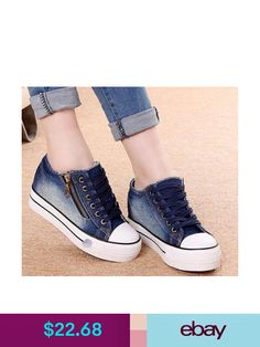 72f110d0588 Athletic Shoes Fashionable Girls Lace Up Sneakers Platform Wedge Heels  Denim Canvas Shoes