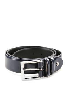 Sergio Gavazzeni - Cinture - Accessori - Cintura in pelle traforata con fibbia metallica e logo frontale, altezza 3,5 cm.Vite logata removibile per regolare lunghezza. - BLU - € 75.00