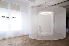 some place studios' ethereal screens lead viewers through exhibition in vienna Museum Exhibition Design, Exhibition Display, Exhibition Space, Exhibition Ideas, Exhibition Stands, Environmental Graphics, Environmental Design, Wall Text, Design Art